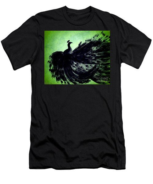Men's T-Shirt (Slim Fit) featuring the digital art Dancing Peacock Green by Anita Lewis