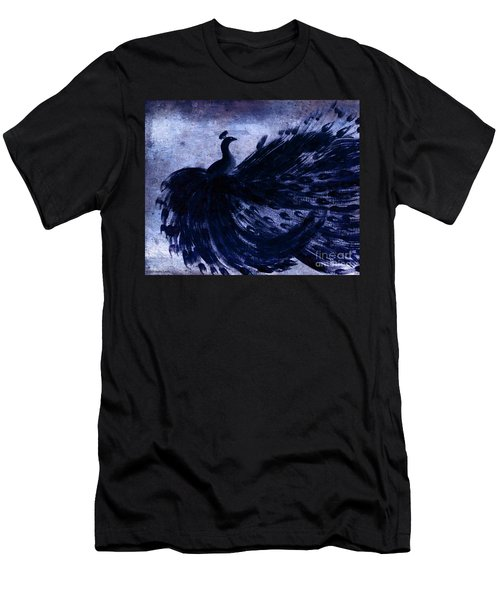 Men's T-Shirt (Slim Fit) featuring the painting Dancing Peacock Navy by Anita Lewis