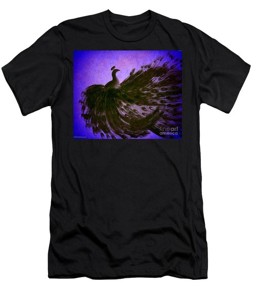 Men's T-Shirt (Slim Fit) featuring the digital art Dancing Peacock Vivid Blue by Anita Lewis
