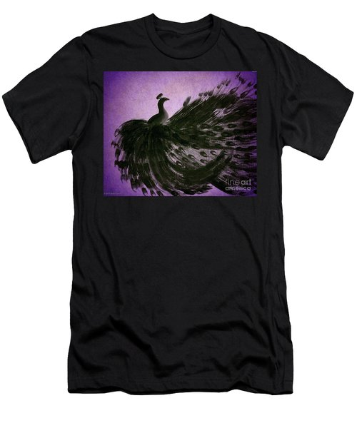 Men's T-Shirt (Slim Fit) featuring the digital art Dancing Peacock Vivid Purple by Anita Lewis