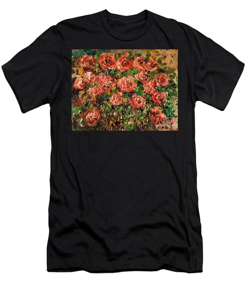 Men's T-Shirt (Athletic Fit) featuring the painting Dancing Red Roses by Laurie Lundquist