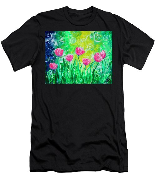 Dancing Tulips Men's T-Shirt (Athletic Fit)