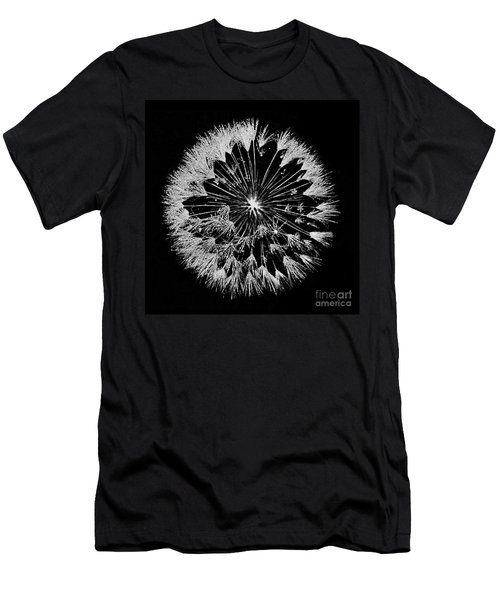 Men's T-Shirt (Athletic Fit) featuring the digital art Dandylion White On Black by Clayton Bruster