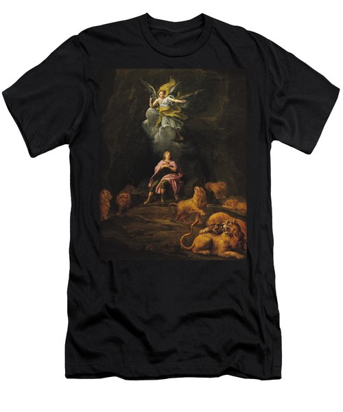 Daniel In The Den Of Lions Oil On Canvas Men's T-Shirt (Athletic Fit)