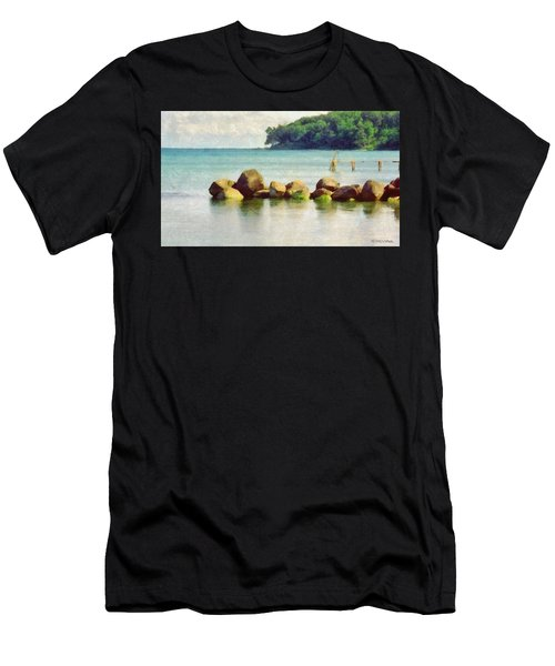 Danish Coast On The Rocks Men's T-Shirt (Athletic Fit)