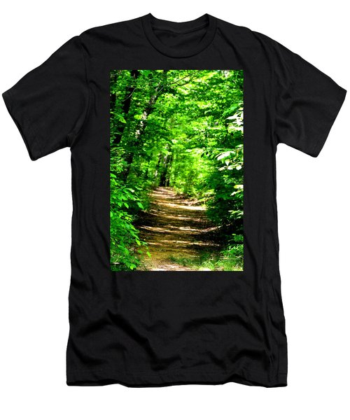 Dappled Sunlit Path In The Forest Men's T-Shirt (Athletic Fit)