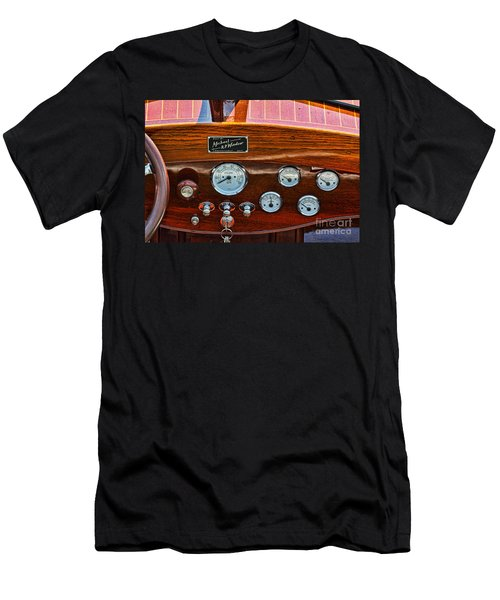 Dashboard In A Classic Wooden Boat Men's T-Shirt (Slim Fit) by Les Palenik