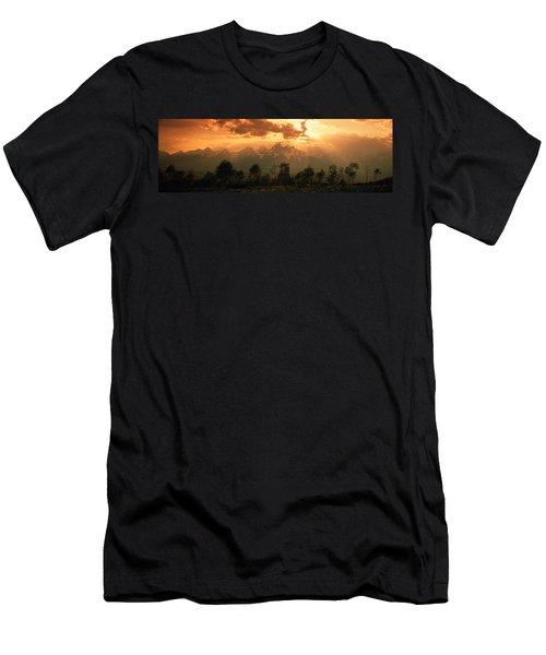 Dawn Teton Range Grand Teton National Men's T-Shirt (Athletic Fit)