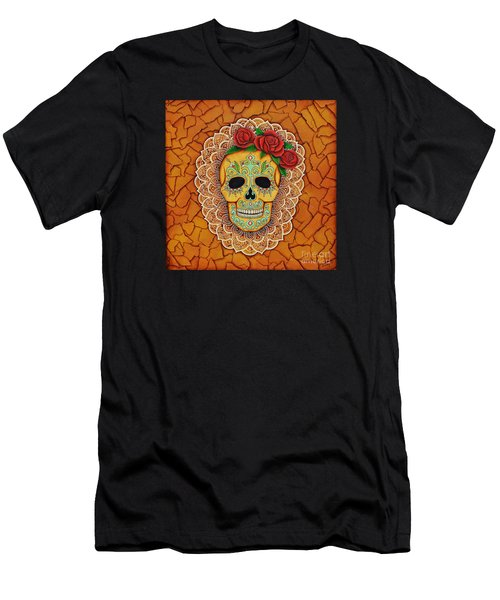 Men's T-Shirt (Slim Fit) featuring the painting Day Of The Dead With Roses And Lace by Joseph Sonday
