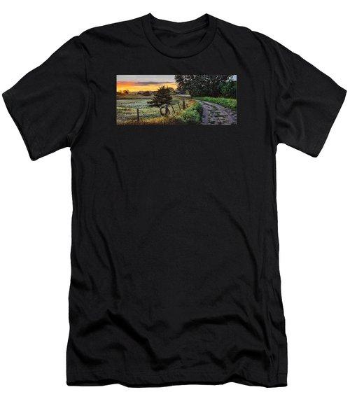 Daybreak Southwest Corner Fenceline Men's T-Shirt (Slim Fit) by Bruce Morrison