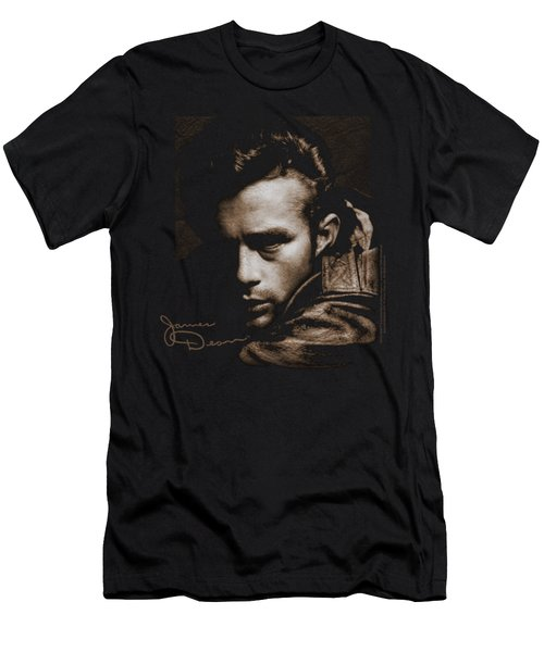 Dean - Brown Leather Men's T-Shirt (Slim Fit) by Brand A