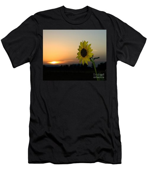 Men's T-Shirt (Athletic Fit) featuring the photograph Sunflower And Sunset by Mae Wertz
