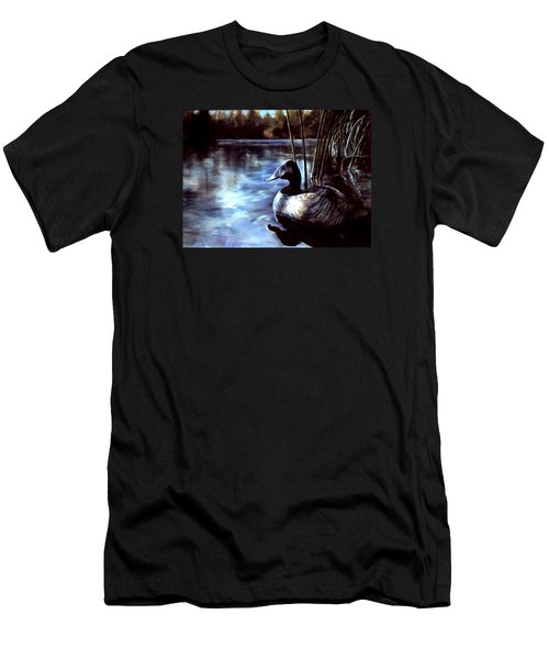 Men's T-Shirt (Slim Fit) featuring the painting Decoy At Tealwood by Pattie Wall