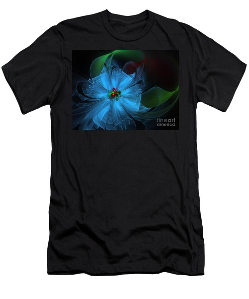 Delicate Blue Flower-fractal Art Men's T-Shirt (Athletic Fit)