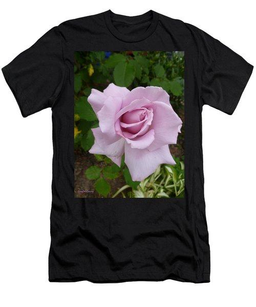 Men's T-Shirt (Slim Fit) featuring the photograph Delicate Purple Rose by Lingfai Leung