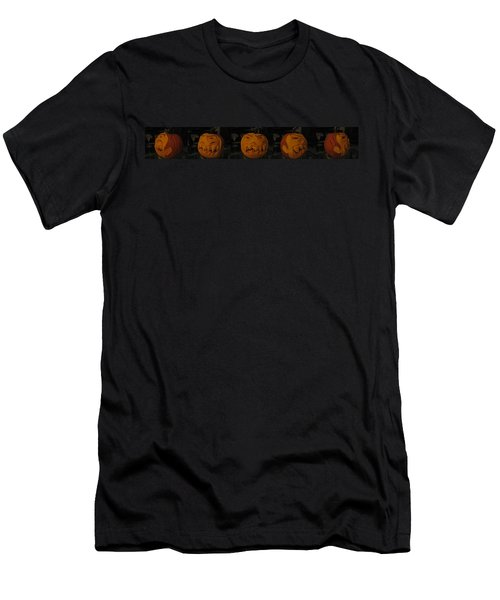 Men's T-Shirt (Slim Fit) featuring the sculpture Demented Mister Ullman Pumpkin 3 by Shawn Dall