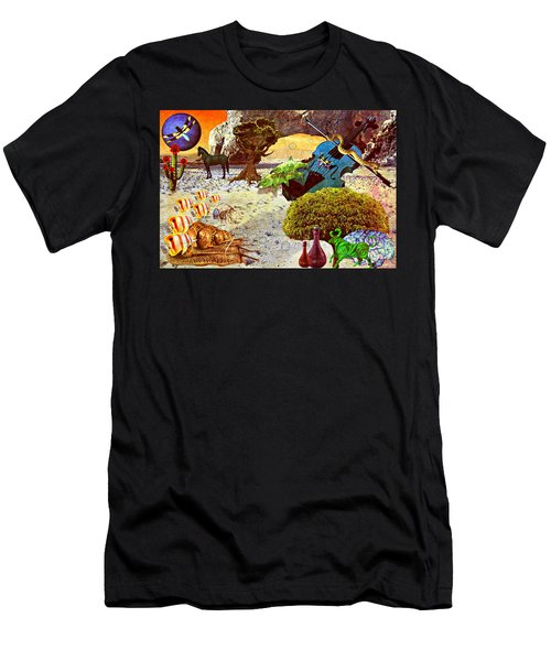 Men's T-Shirt (Slim Fit) featuring the mixed media Desert Blues by Ally  White