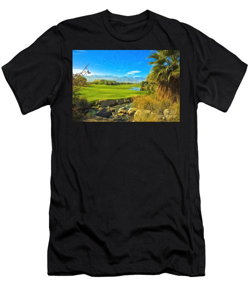 Men's T-Shirt (Slim Fit) featuring the photograph Desert Golf Resort Pastel Photograph by David Zanzinger