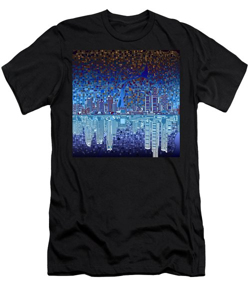 Detroit Skyline Abstract 2 Men's T-Shirt (Athletic Fit)