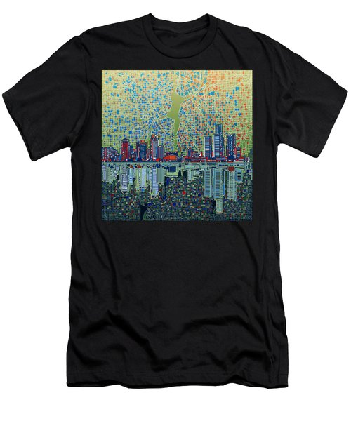 Detroit Skyline Abstract 3 Men's T-Shirt (Athletic Fit)