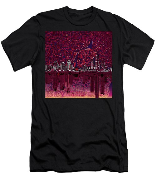 Detroit Skyline Abstract Men's T-Shirt (Athletic Fit)