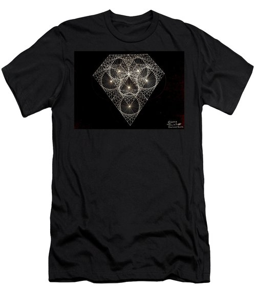 Men's T-Shirt (Slim Fit) featuring the drawing Diamond White And Black by Jason Padgett