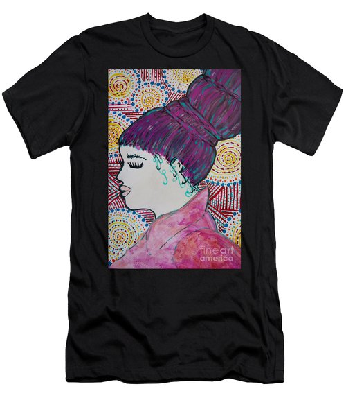 Men's T-Shirt (Athletic Fit) featuring the painting Did You See Her Hair by Jacqueline Athmann