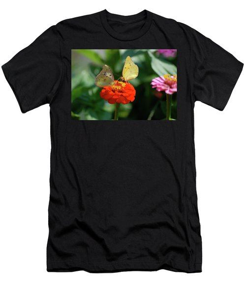 Men's T-Shirt (Slim Fit) featuring the photograph Dinner Table For Two Butterflies by Thomas Woolworth