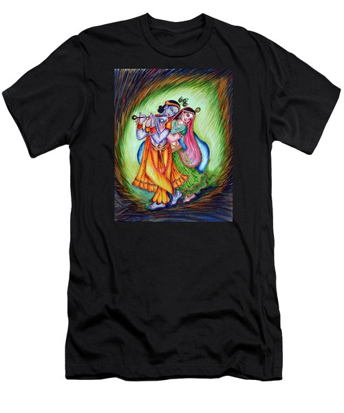 Men's T-Shirt (Slim Fit) featuring the painting Divine Lovers by Harsh Malik