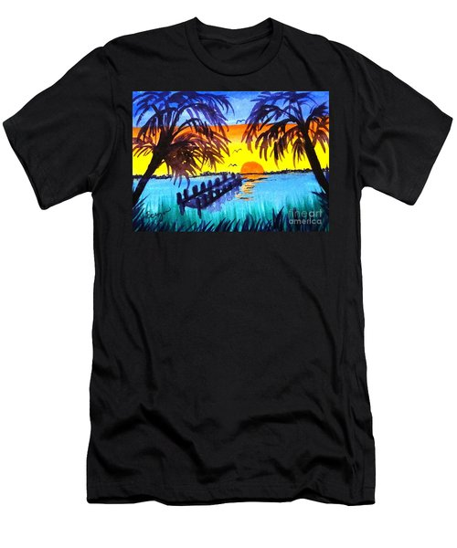 Men's T-Shirt (Slim Fit) featuring the painting Dock At Sunset by Ecinja Art Works