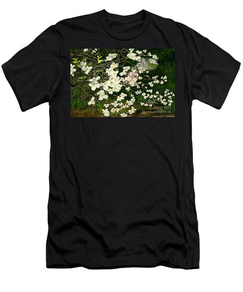 Men's T-Shirt (Slim Fit) featuring the painting Dogwoods Virginia by Melly Terpening