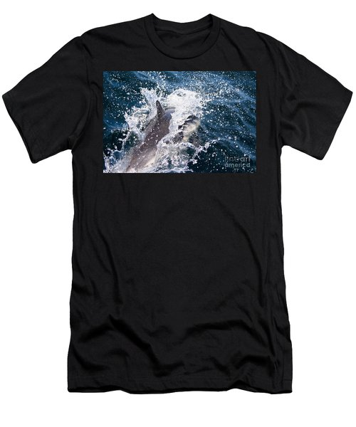 Men's T-Shirt (Athletic Fit) featuring the photograph Dolphin Splash by John Wadleigh