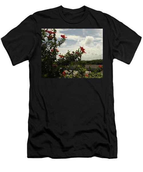 Dominican Red Flower Men's T-Shirt (Athletic Fit)