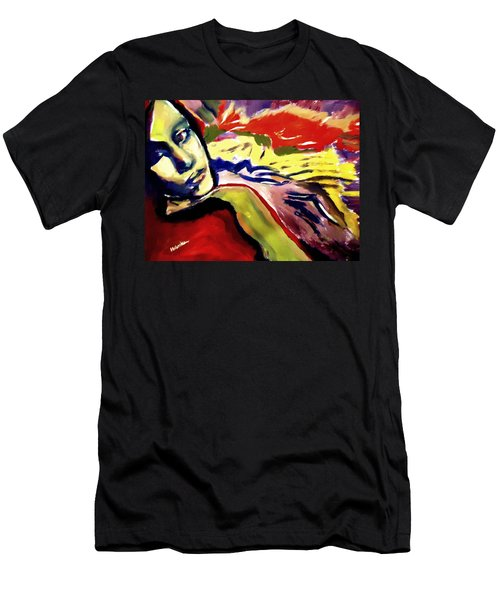 Men's T-Shirt (Slim Fit) featuring the painting Don T Look Back by Helena Wierzbicki