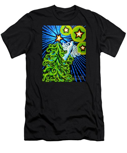 Dove And Christmas Tree Men's T-Shirt (Slim Fit) by Genevieve Esson