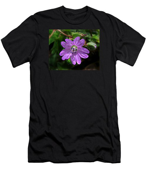 Wild Dovesfoot Cranesbill Men's T-Shirt (Slim Fit) by William Tanneberger