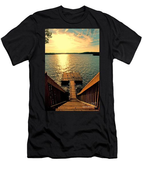 Down To The Fishing Dock - Lake Of The Ozarks Mo Men's T-Shirt (Slim Fit) by Debbie Portwood