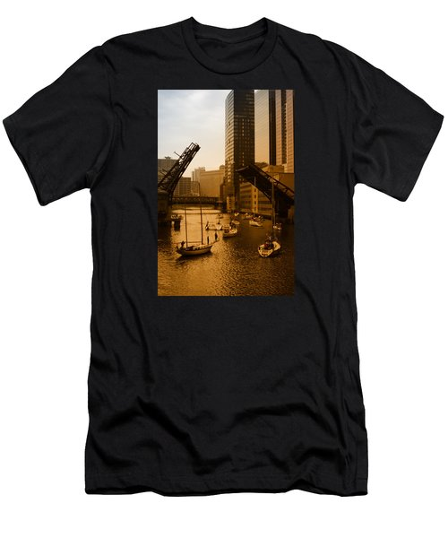 Downtown Chicago Men's T-Shirt (Slim Fit) by Miguel Winterpacht