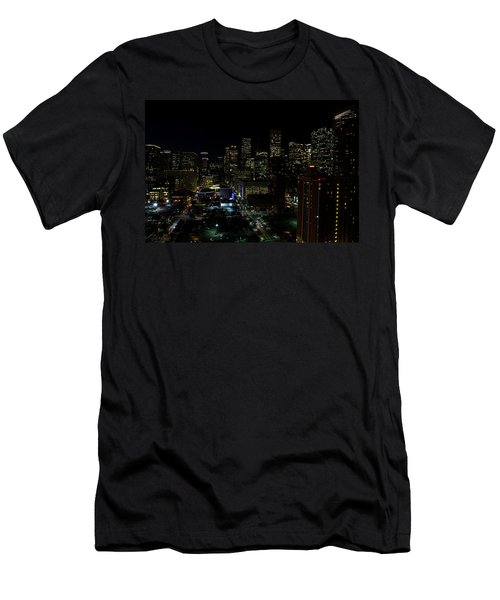 Downtown Houston At Night Men's T-Shirt (Slim Fit) by Judy Vincent