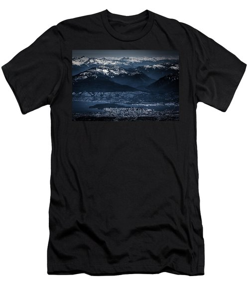 Downtown Vancouver And The Mountains Aerial View Low Key Men's T-Shirt (Athletic Fit)