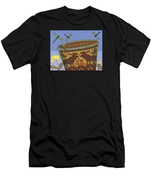 Men's T-Shirt (Athletic Fit) featuring the painting Dragonfly - Cohkanapises by Chholing Taha