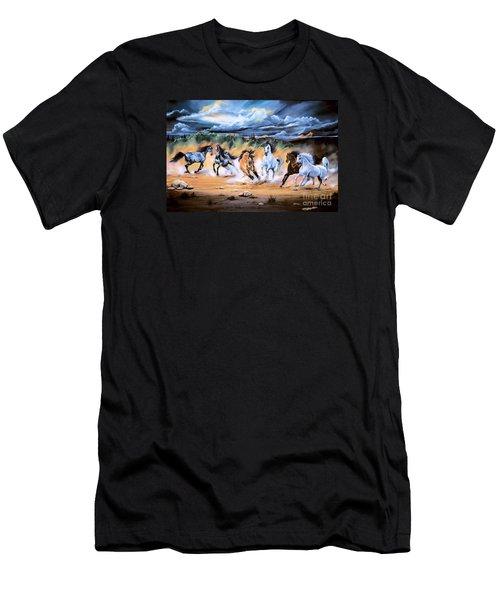 Dream Horse Series 125 - Flat Bottom River Wild Horse Herd Men's T-Shirt (Slim Fit) by Cheryl Poland