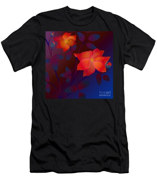 Men's T-Shirt (Slim Fit) featuring the digital art Dreaming Wild Roses by Latha Gokuldas Panicker