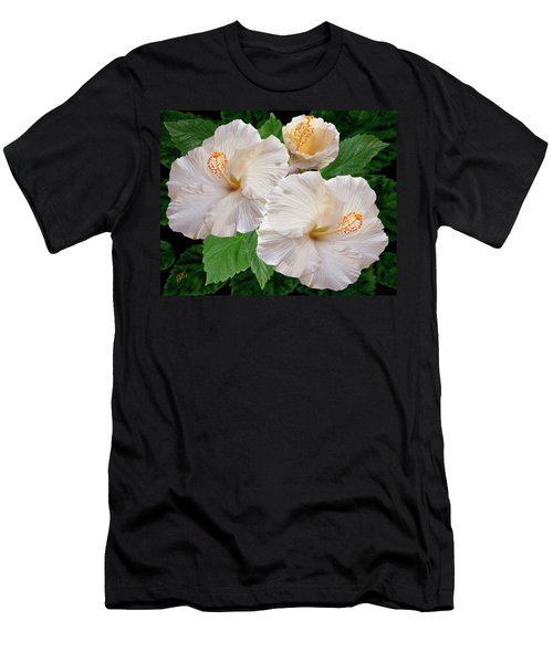 Dreamy Blooms - White Hibiscus Men's T-Shirt (Athletic Fit)