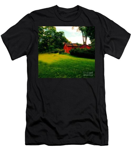 Dreamy Summer Landscape With Red Barm Men's T-Shirt (Athletic Fit)