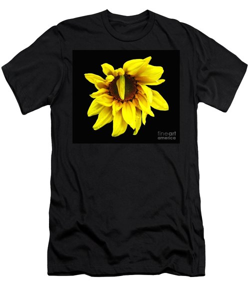Men's T-Shirt (Slim Fit) featuring the photograph Droops Sunflower With Oil Painting Effect by Rose Santuci-Sofranko