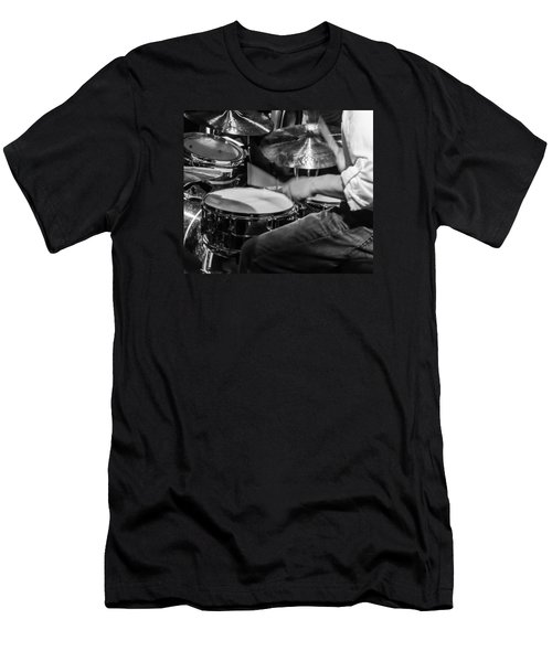 Drummer At Work Men's T-Shirt (Slim Fit) by Photographic Arts And Design Studio