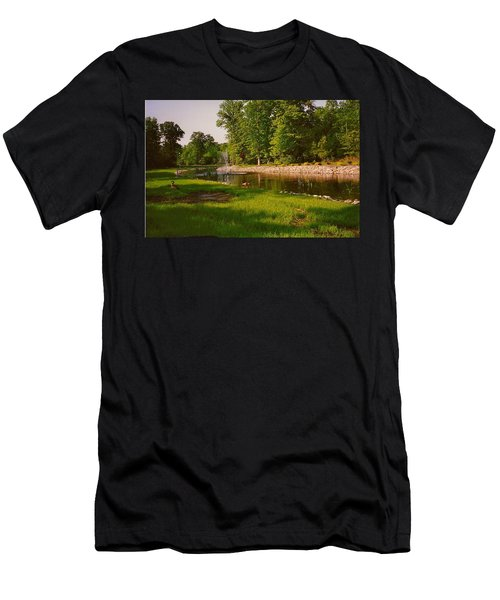 Men's T-Shirt (Slim Fit) featuring the photograph Duck Pond With Water Fountain by Amazing Photographs AKA Christian Wilson
