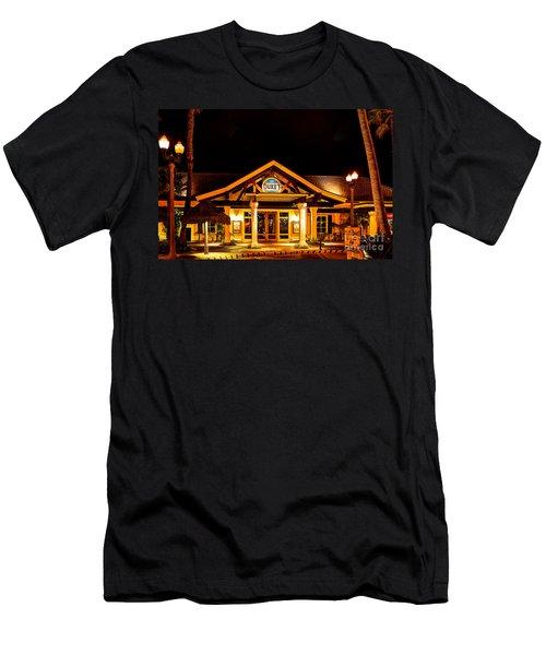 Men's T-Shirt (Slim Fit) featuring the photograph Duke's Restaurant Front - Huntington Beach by Jim Carrell