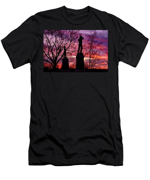 Men's T-Shirt (Slim Fit) featuring the photograph Durell's Independent Battery D And 48th Pa Volunteer Infantry-a1 Sunset Antietam by Michael Mazaika